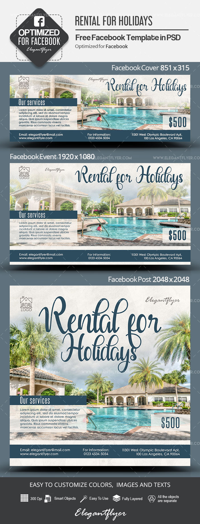 Rental for Holidays – Free Facebook Cover Template in PSD + Post + Event cover