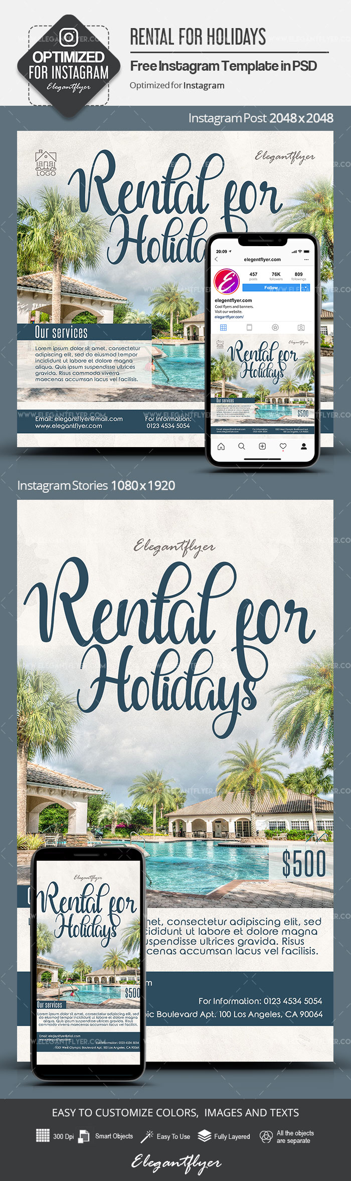 Rental for Holidays – Free Instagram Stories Template in PSD + Post Templates