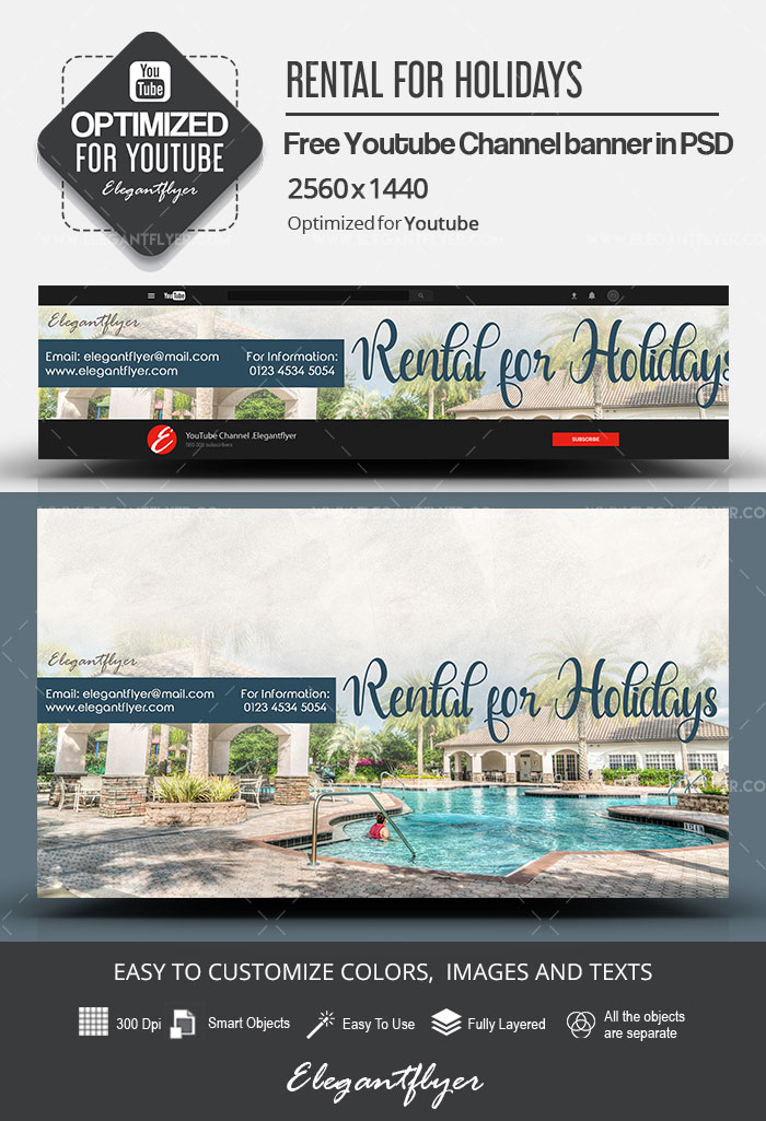 Rental for Holidays – Free Youtube Channel banner PSD Template