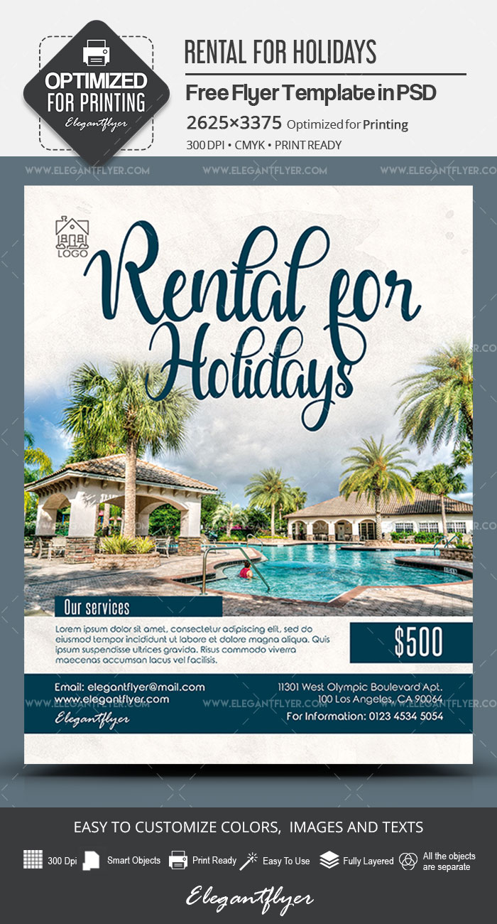 Rental for Holidays – Free PSD Flyer Template