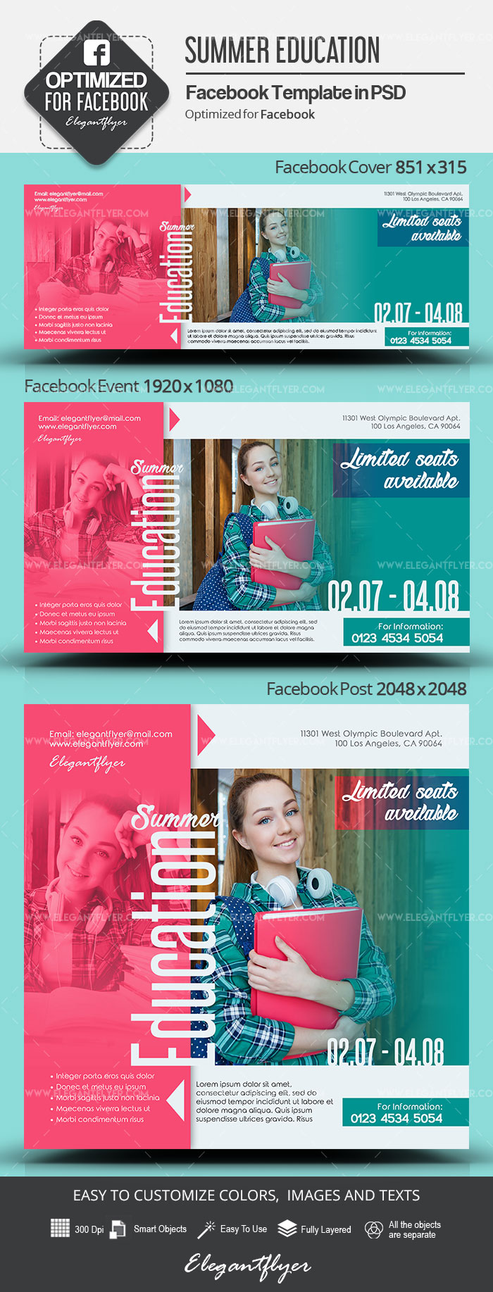 Summer Education – Facebook Cover Template in PSD + Post + Event cover