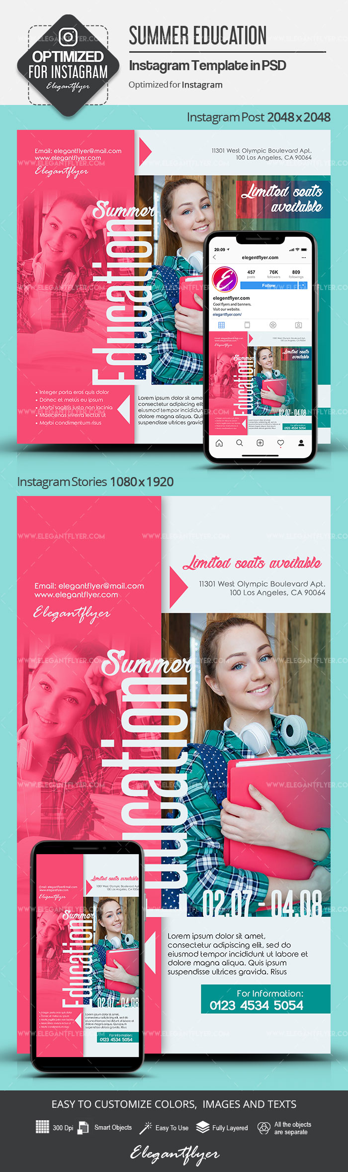 Summer Education – Instagram Stories Template in PSD + Post Templates