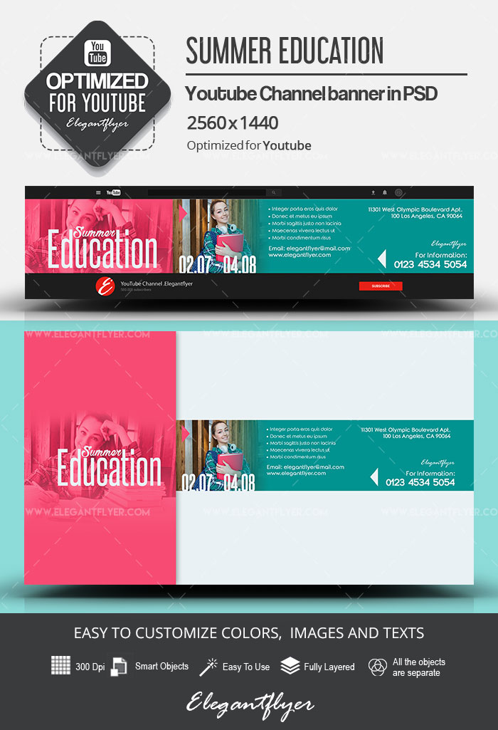 Summer Education – Youtube Channel banner PSD Template