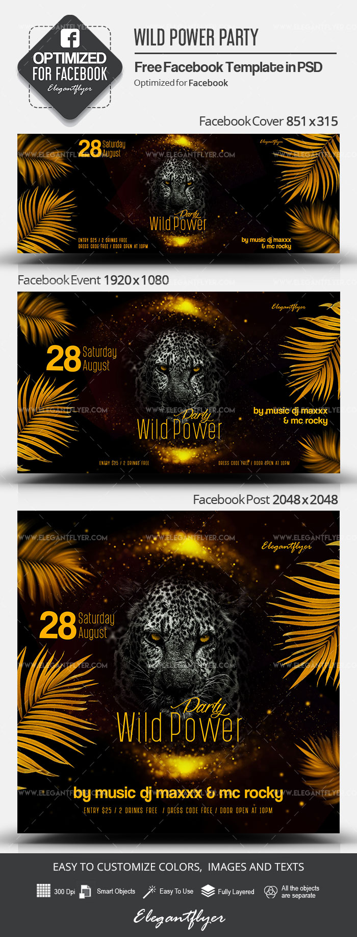 Wild Power Party – Free Facebook Cover Template in PSD + Post + Event cover