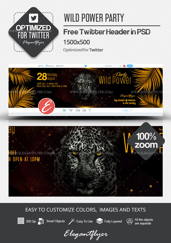 Wild Power Party – Free Twitter Header PSD Template