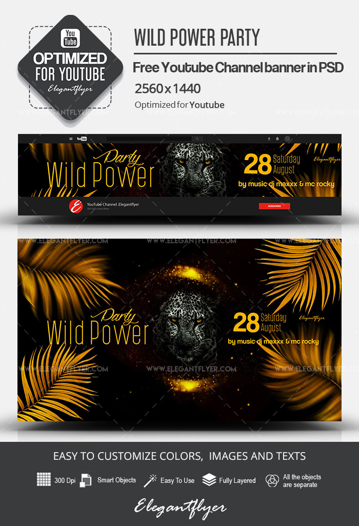Wild Power Party – Free Youtube Channel banner PSD Template