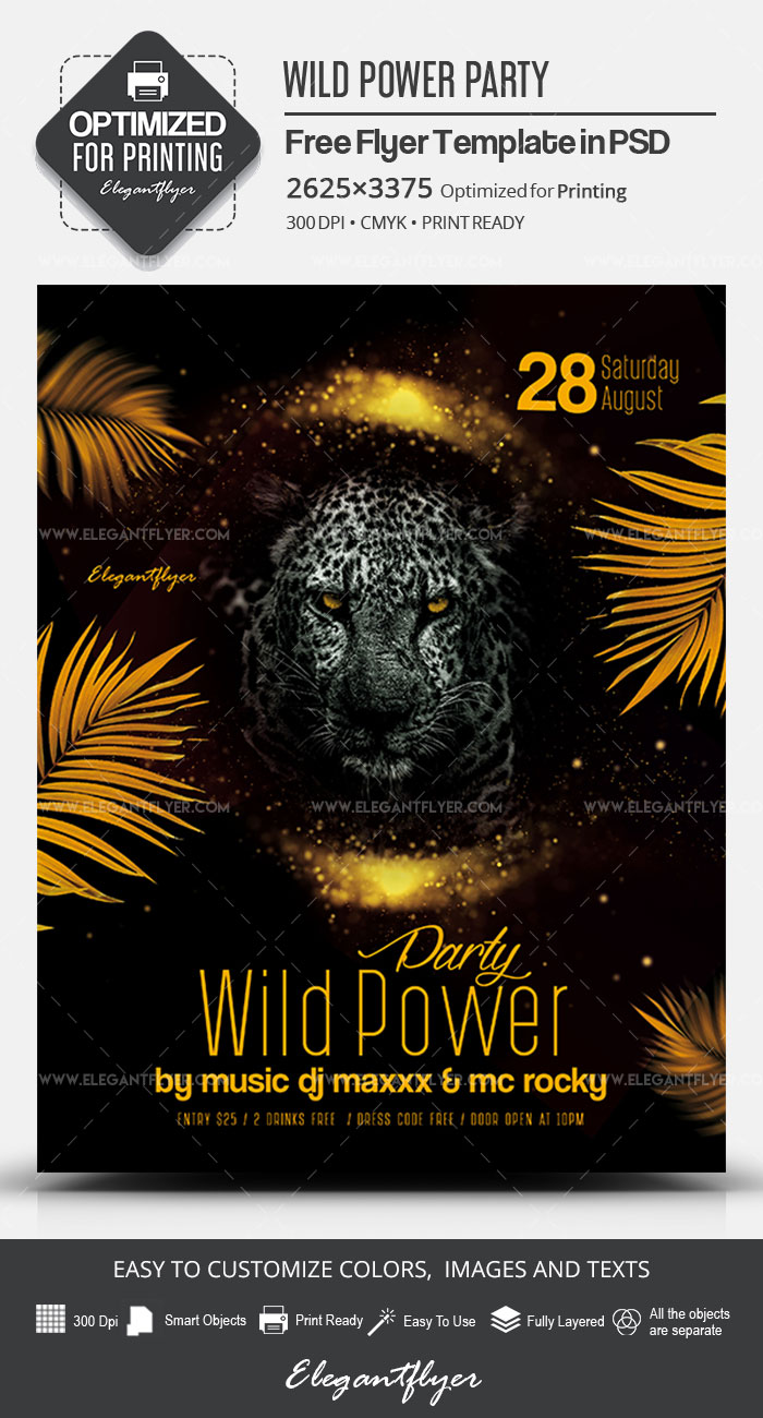 Wild Power Party – Free PSD Flyer Template