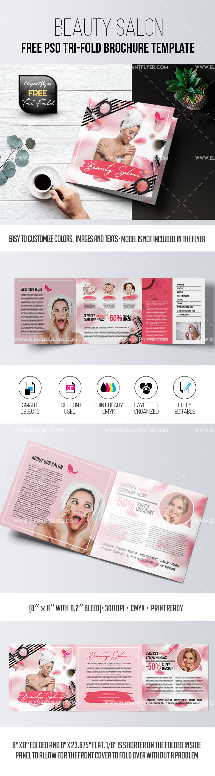 Beauty Salon – Free PSD Tri-Fold Brochure Template