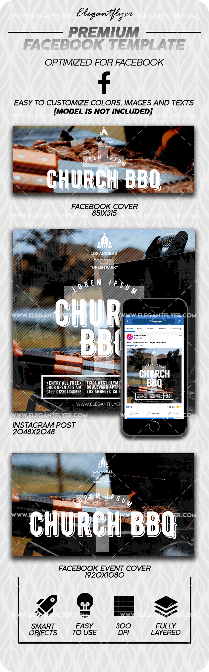Church BBQ – Premium Facebook Cover Template in PSD + Post + Event cover