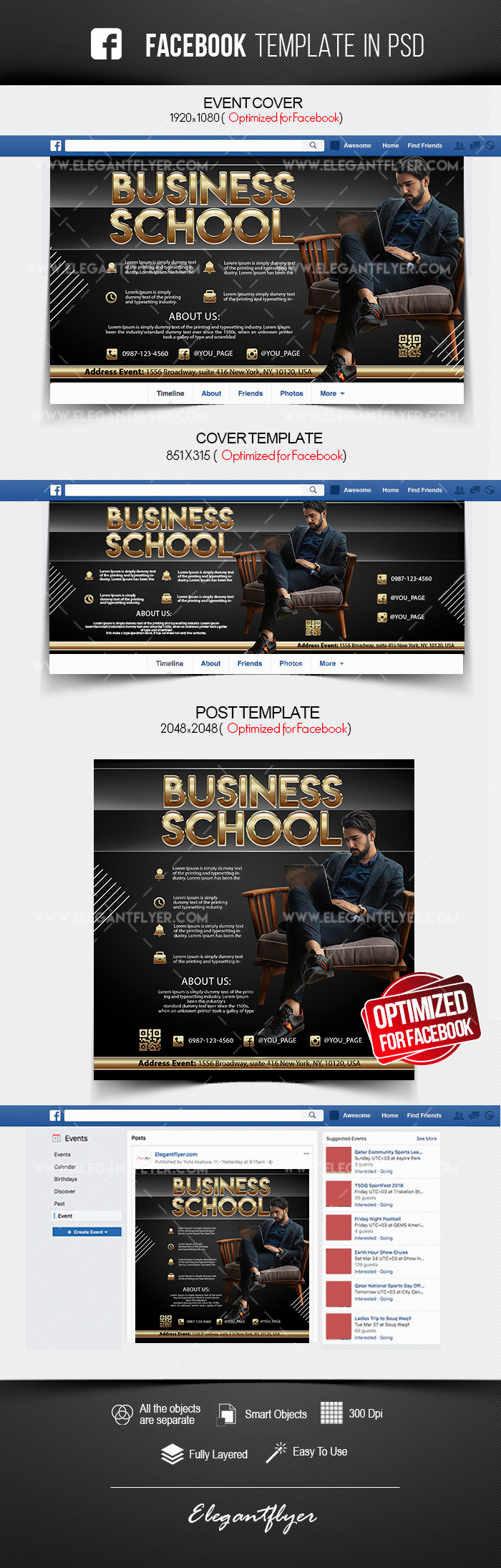 Business School – Free Facebook Cover Template in PSD + Post + Event cover