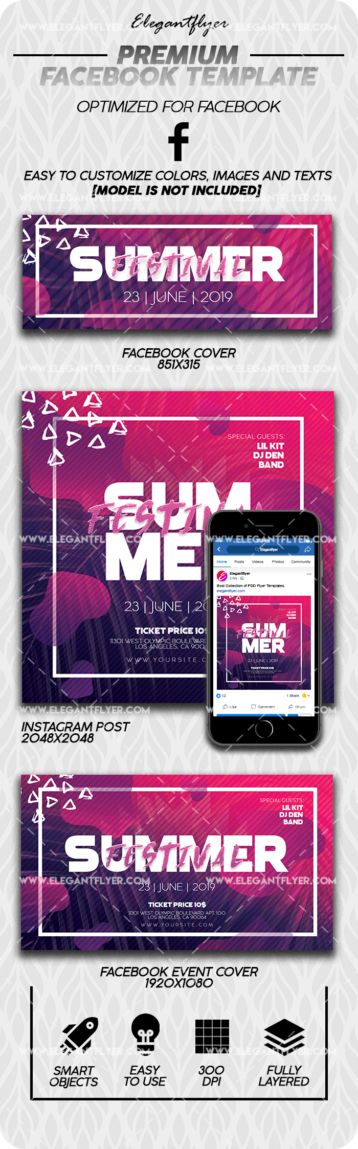 Summer Festival – Premium Facebook Cover Template in PSD + Post + Event cover