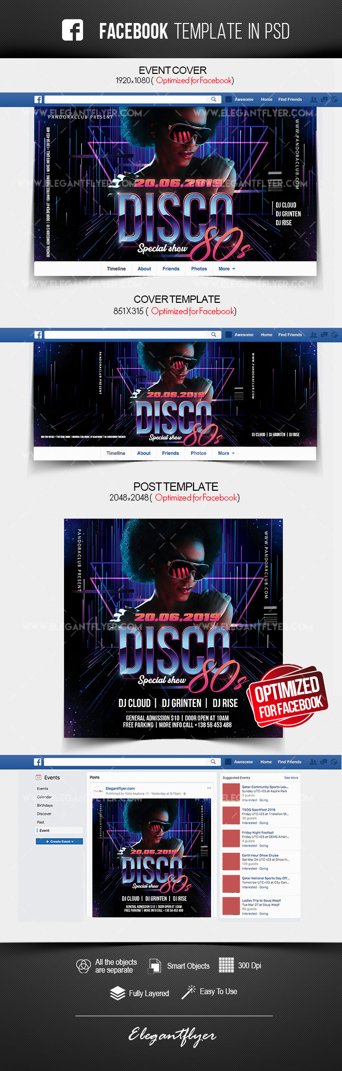 Disco 80s – Facebook Cover Template in PSD + Post + Event cover