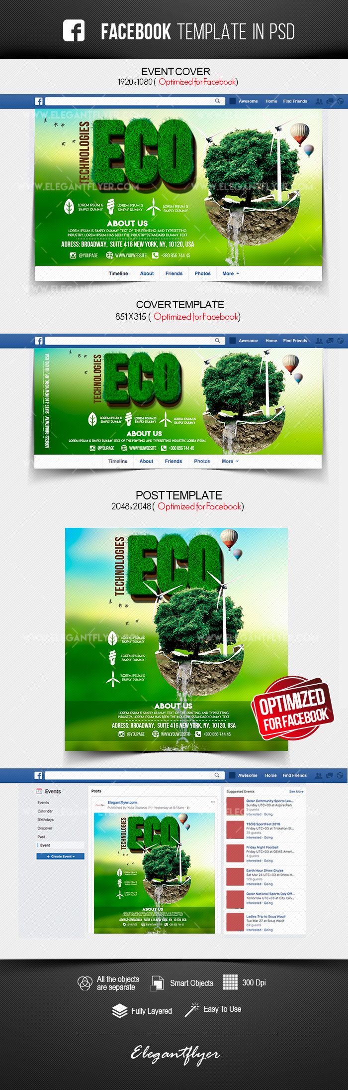 Eco Technologies – Free Facebook Cover Template in PSD + Post + Event cover