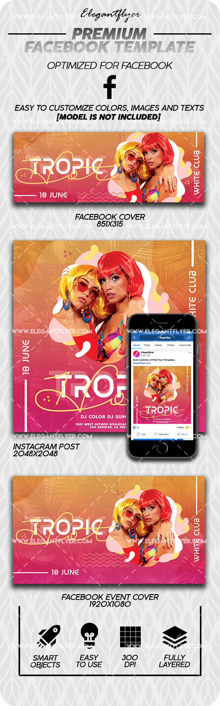 Hot Tropic – Premium Facebook Cover Template in PSD + Post + Event cover