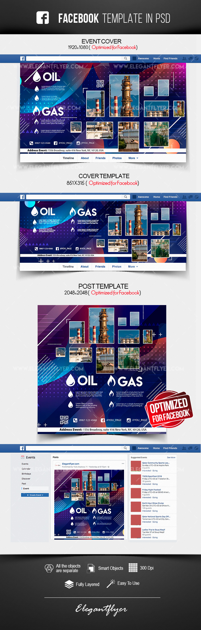 Oil & Gas Company – Facebook Cover Template in PSD + Post + Event cover