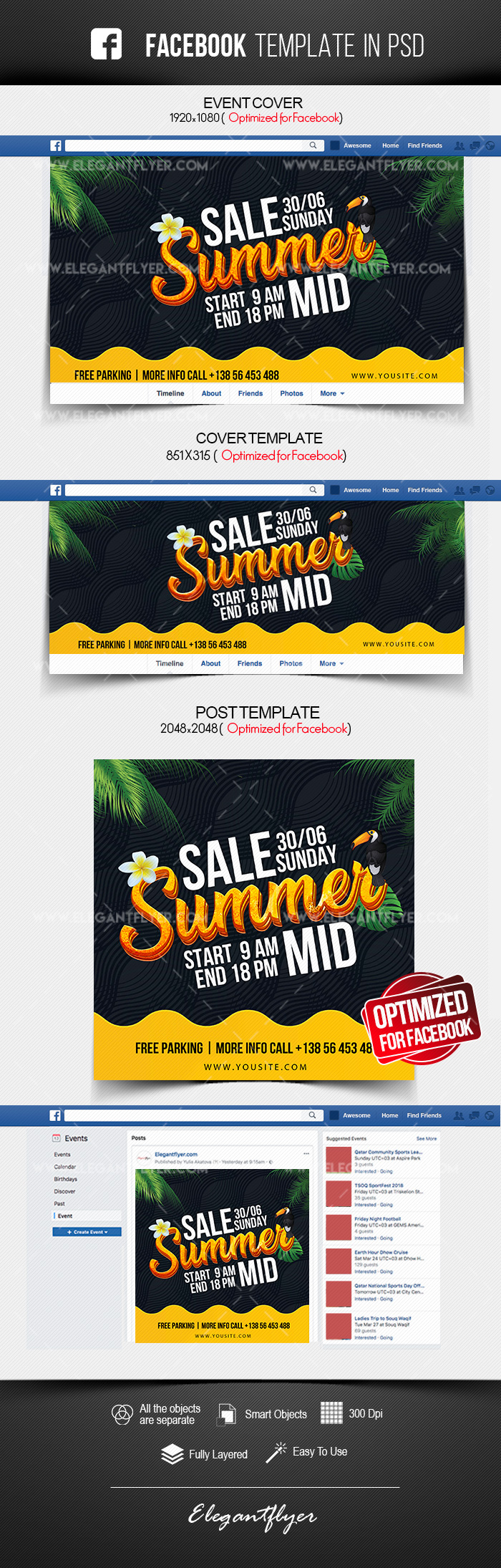 Summer Mid Sale – Free Facebook Cover Template in PSD + Post + Event cover