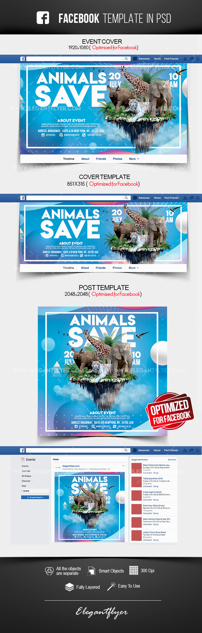 Save the Animals – Facebook Cover Template in PSD + Post + Event cover