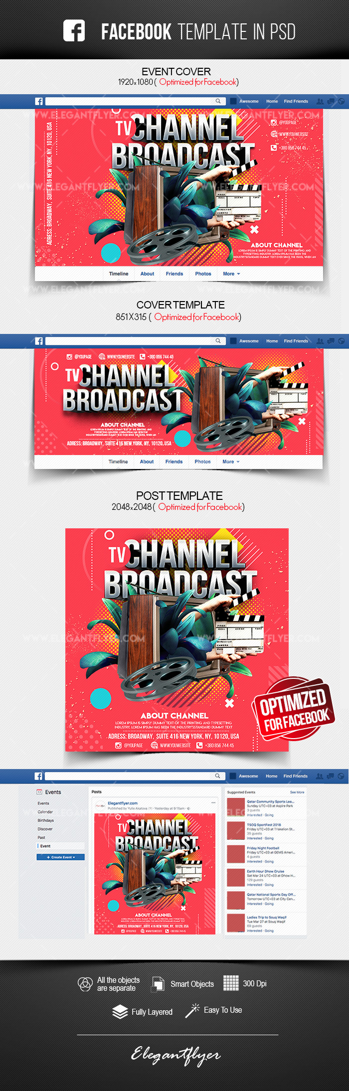 TV Channel Broadcast – Facebook Cover Template in PSD + Post + Event cover