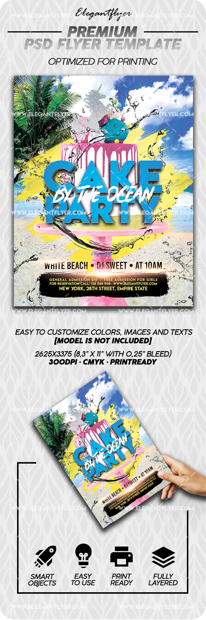 Cake by the Ocean Party – Premium Flyer Template in PSD