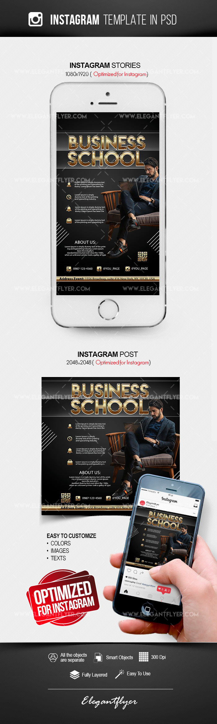 Business School – Free Instagram Stories Template in PSD + Post Templates