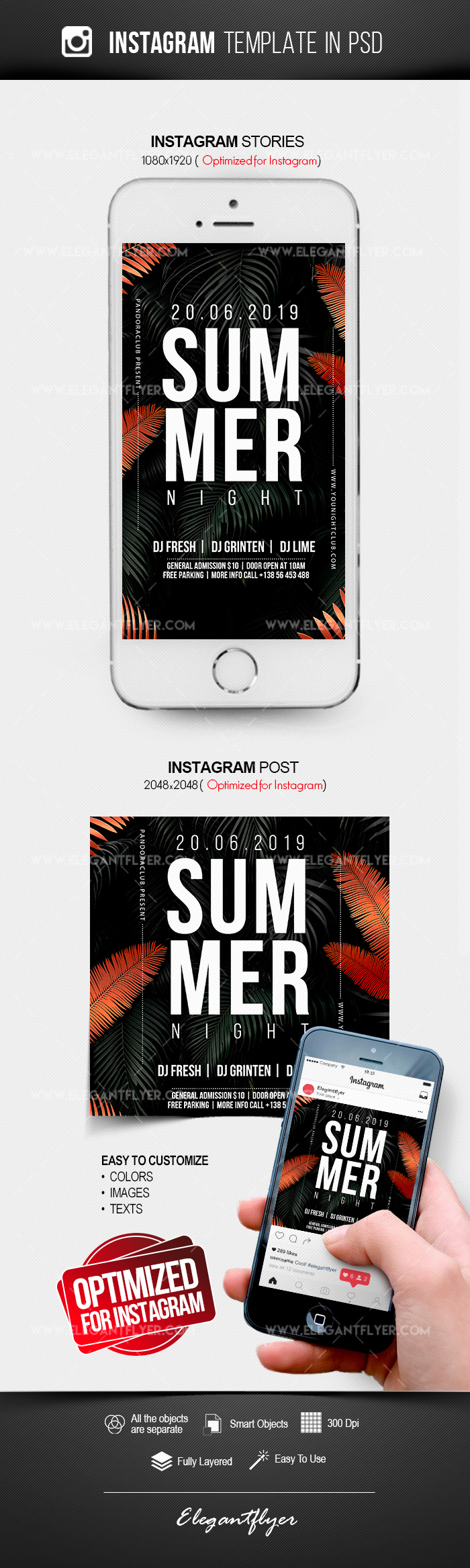 Summer Night – Instagram Stories Template in PSD + Post Templates