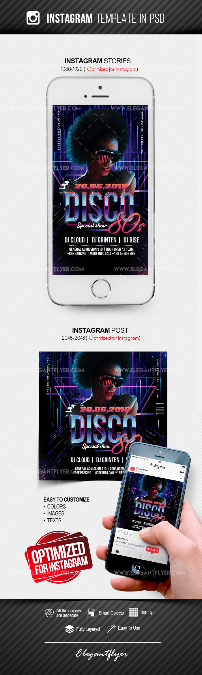 Disco 80s – Instagram Stories Template in PSD + Post Templates