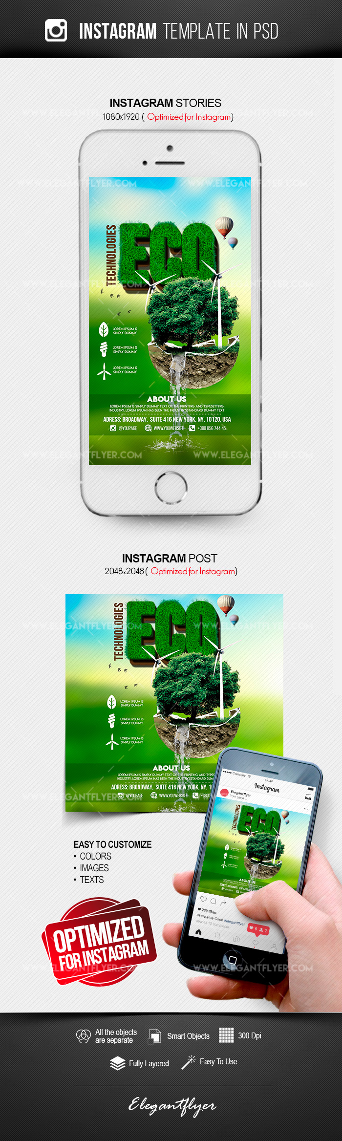 Eco Technologies – Free Instagram Stories Template in PSD + Post Templates