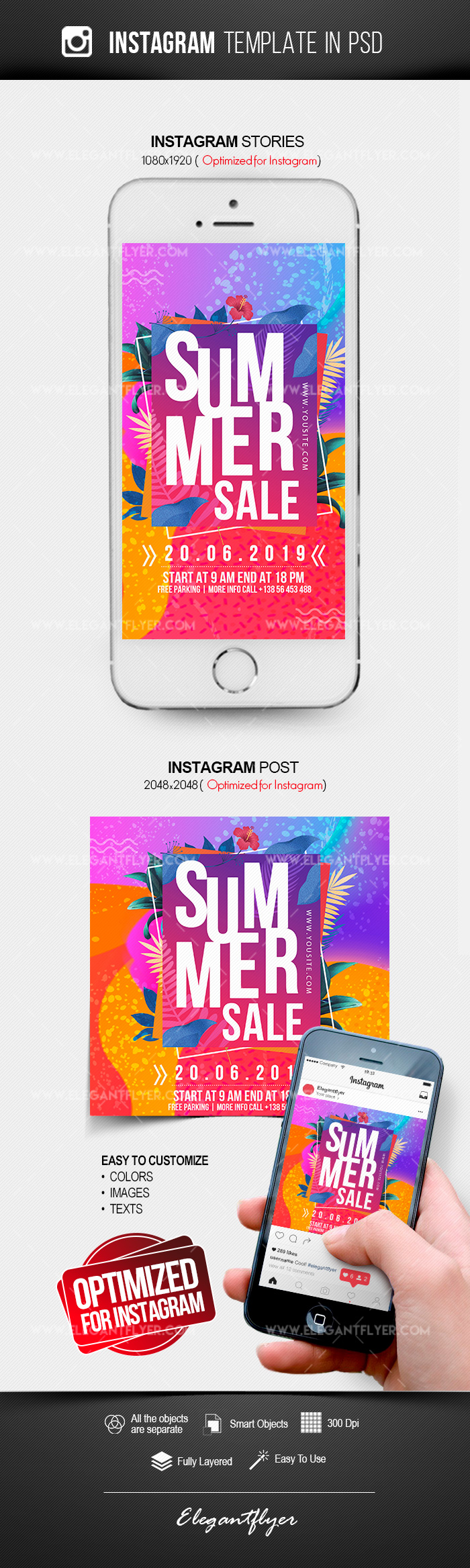 Summer Sale – Instagram Stories Template in PSD + Post Templates