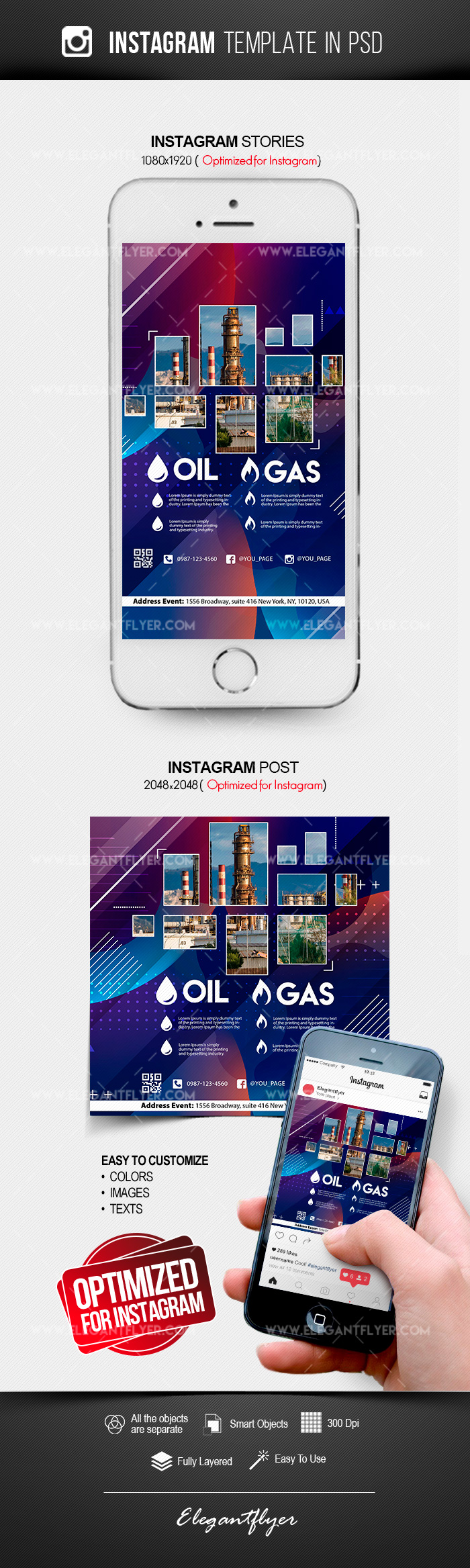 Oil & Gas Company  – Instagram Stories Template in PSD + Post Templates