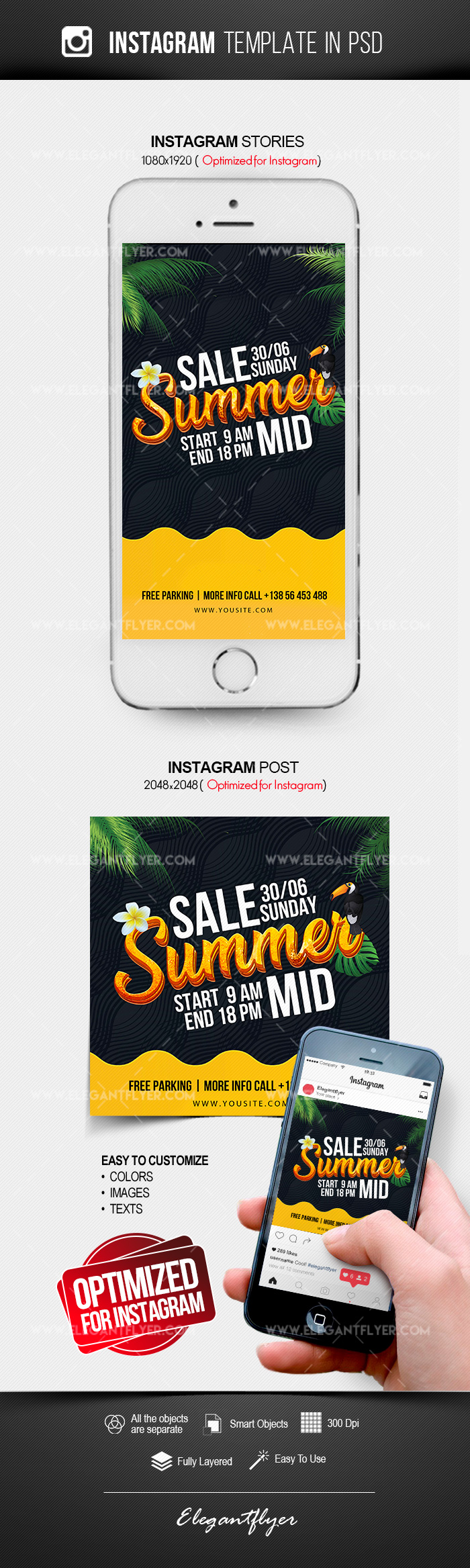 Summer Mid Sale – Free Instagram Stories Template in PSD + Post Templates