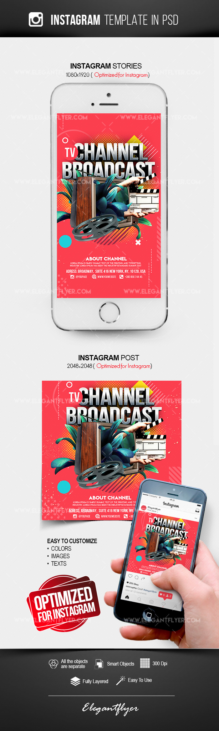TV Channel Broadcast – Instagram Stories Template in PSD + Post Templates
