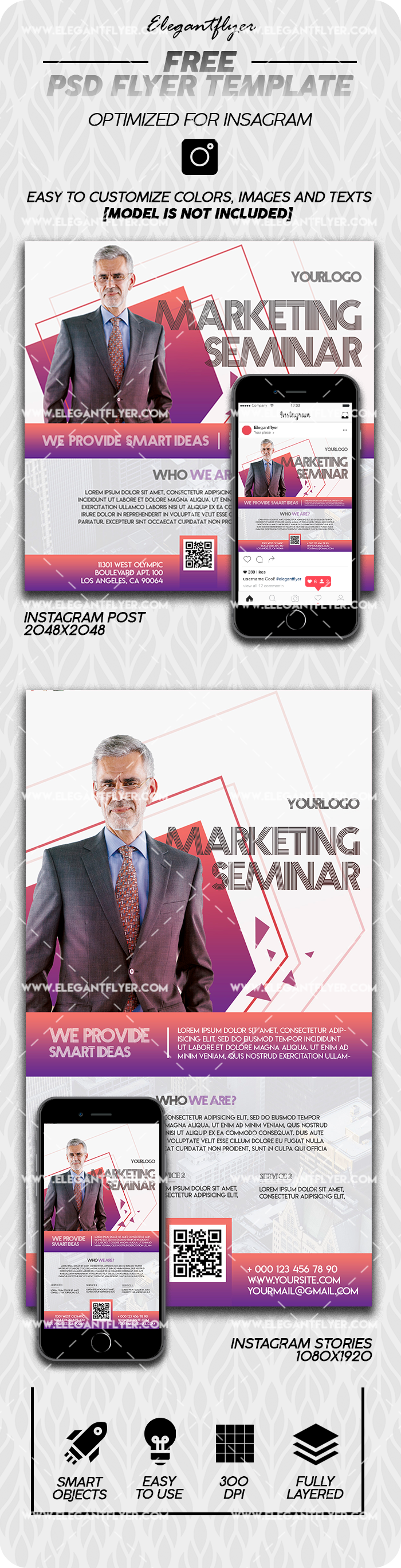 Marketing Seminar – Free Instagram Stories Template in PSD + Post Templates