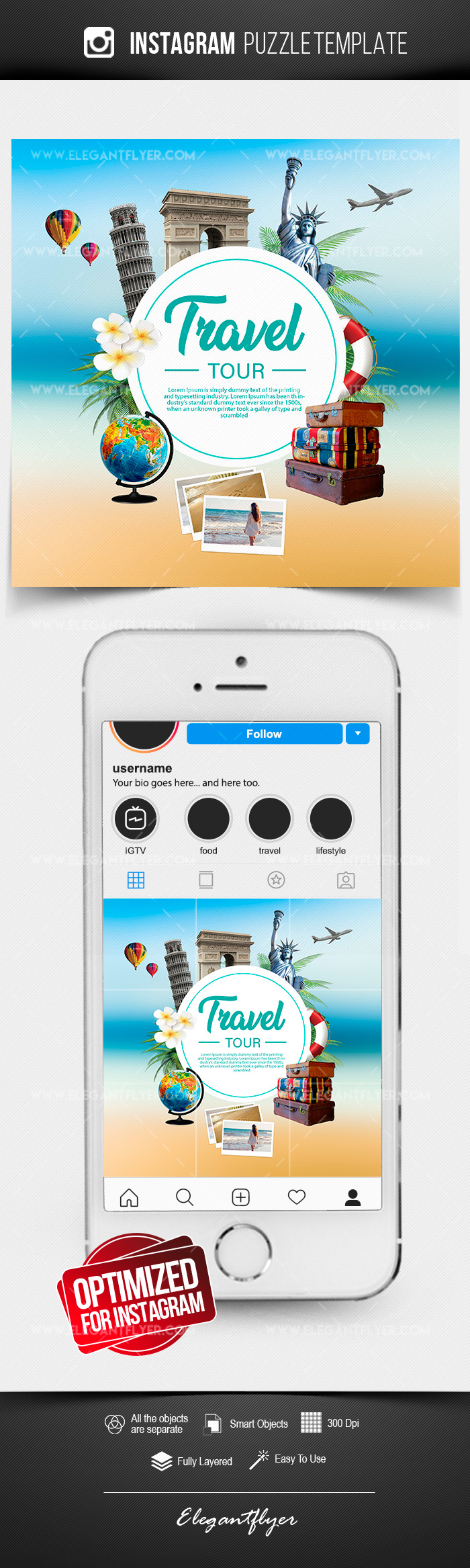 Travel – Free Instagram PSD Puzzle
