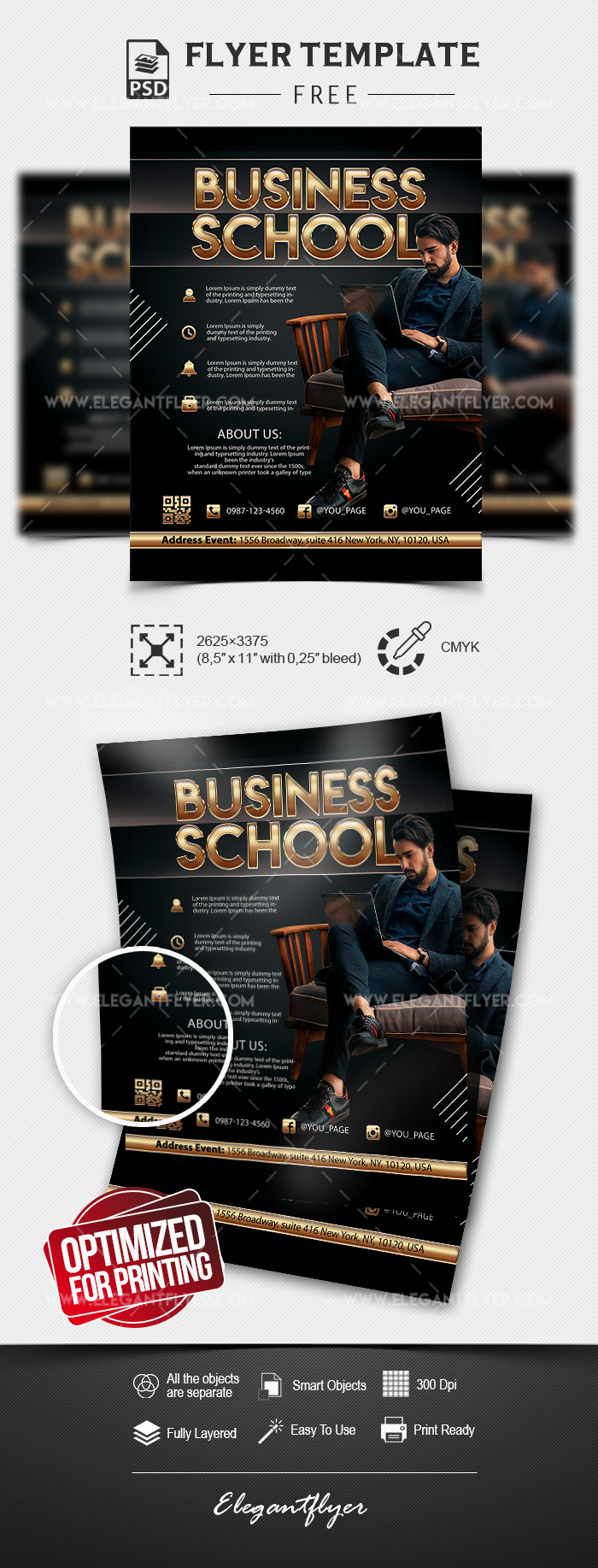 Business School – Free Flyer Template in PSD