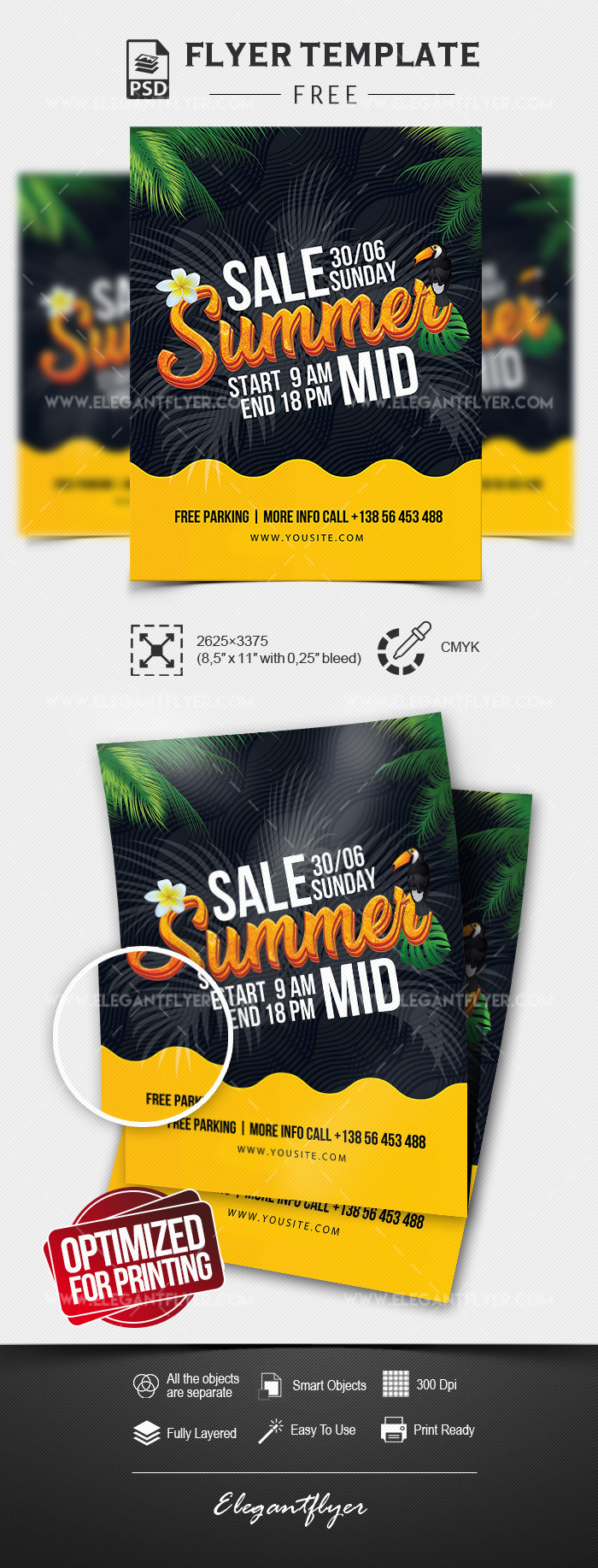 Summer Mid Sale – Free Flyer Template in PSD