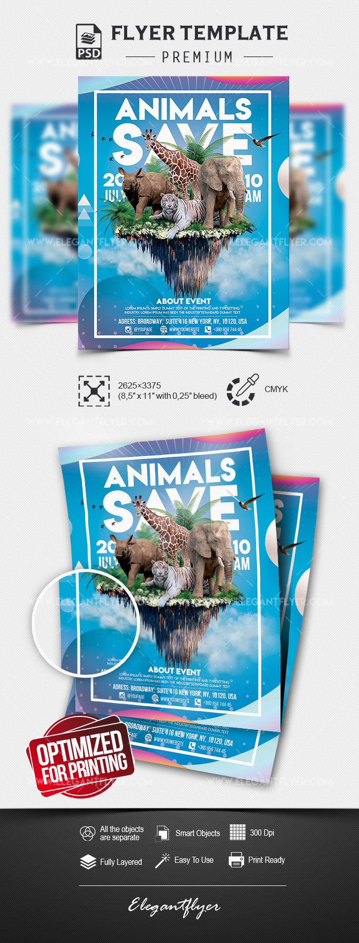 Save the Animals – Premium Flyer Template in PSD
