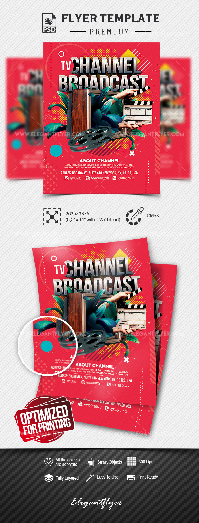 TV Channel Broadcast – Premium Flyer Template in PSD