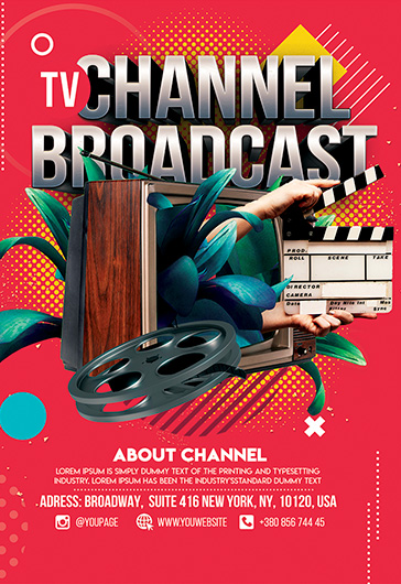 tv channel broadcast  u2013 premium flyer template in psd  u2013 by