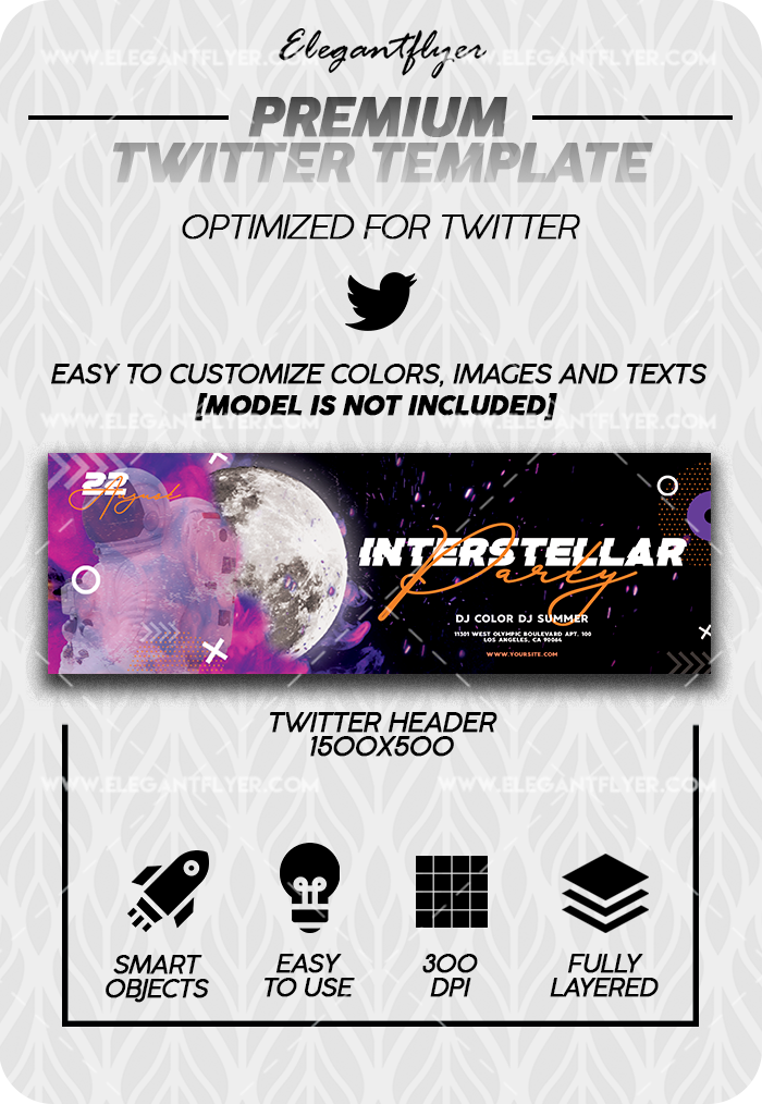 Interstellar – Premium Twitter Channel banner PSD Template