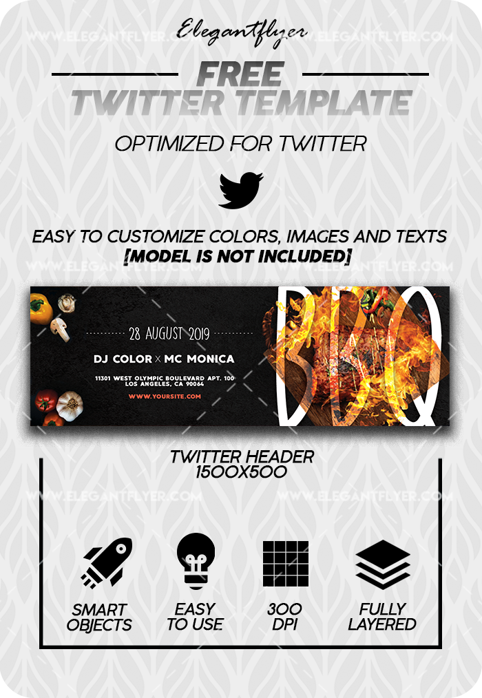 Sunday BBQ – Free Twitter Channel banner PSD Template