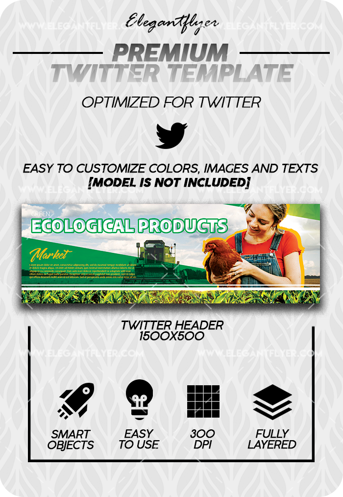 Ecological Products – Premium Twitter Channel banner PSD Template