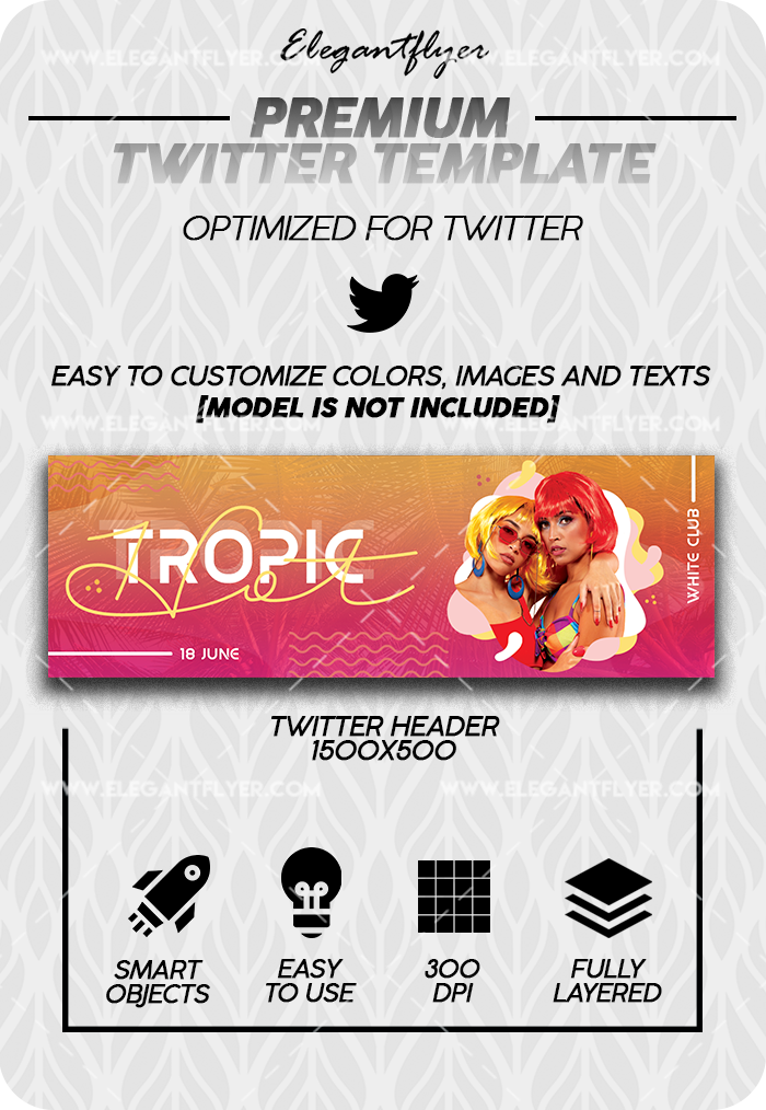 Hot Tropic – Premium Twitter Channel banner PSD Template