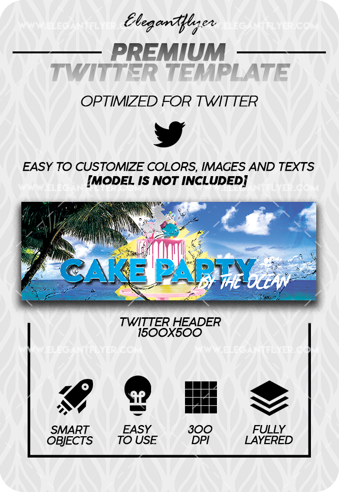 Cake by the Ocean Party – Premium Twitter Channel banner PSD Template