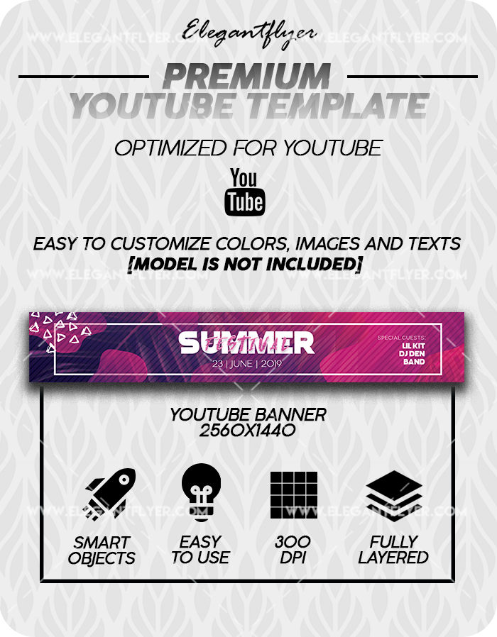 Summer Festival – Premium Youtube Channel banner PSD Template