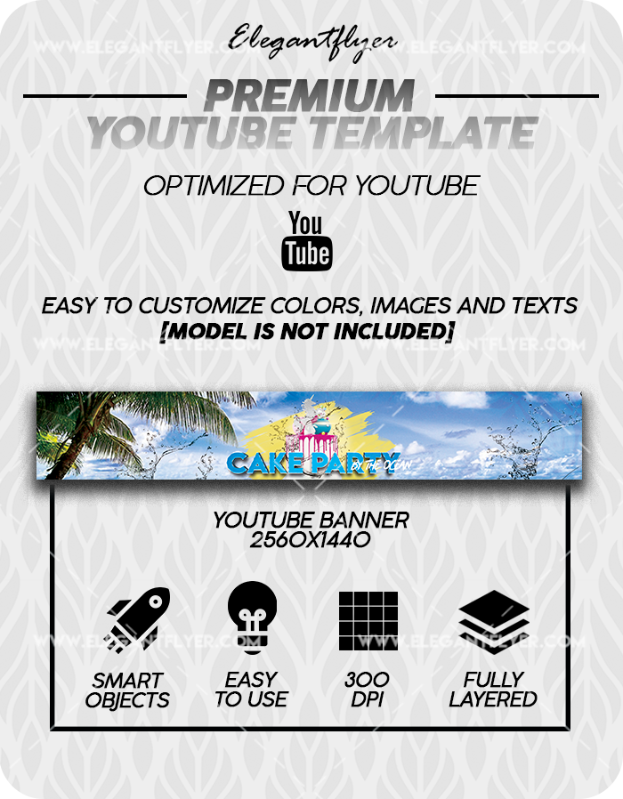 Cake by the Ocean Party – Premium Youtube Channel banner PSD Template