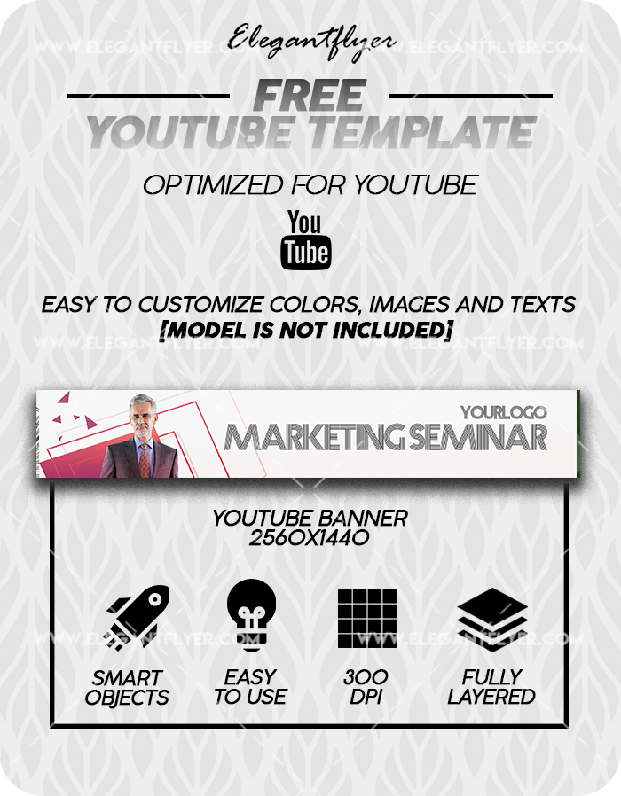 Marketing Seminar – Free Youtube Channel banner PSD Template