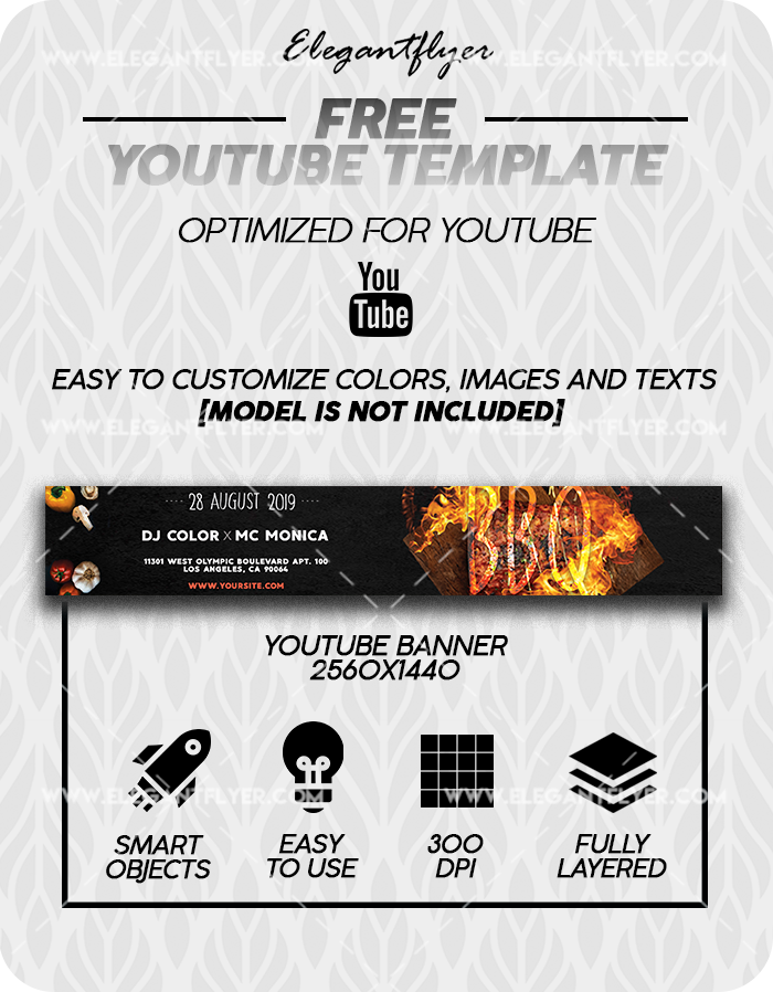 Sunday BBQ – Free Youtube Channel banner PSD Template