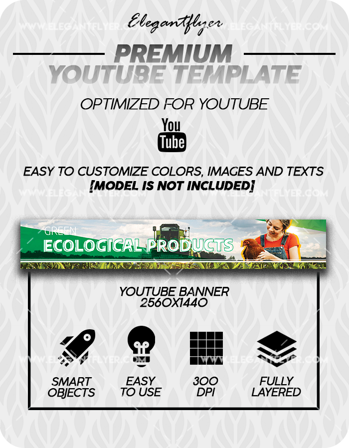Ecological Products – Premium Youtube Channel banner PSD Template