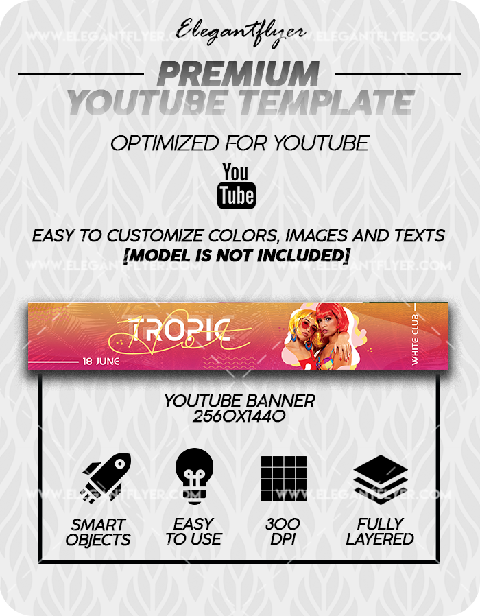 Hot Tropic – Premium Youtube Channel banner PSD Template