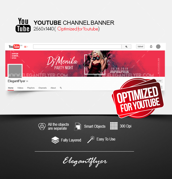 DJ Party – Youtube Channel banner PSD Template